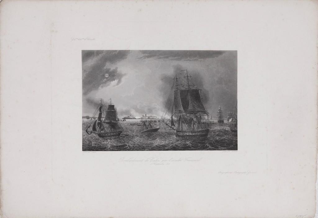 Cadiz námořní bitva, oceloryt, (1840)