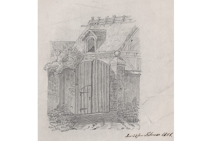 Dvorec, kresba tužkou 1866