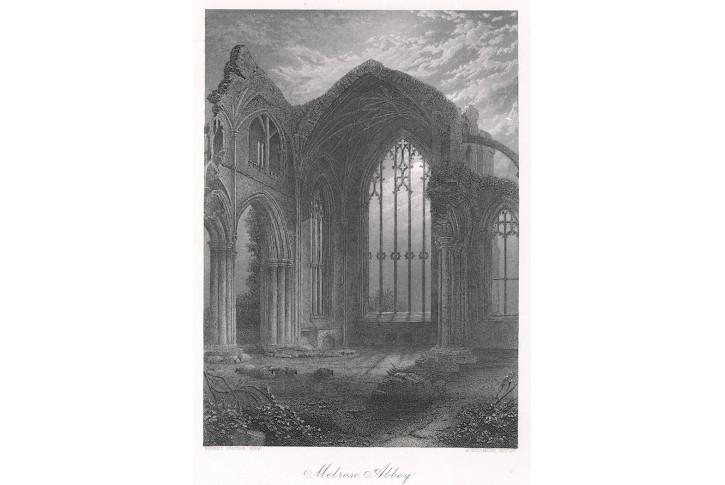 Melrose Abbey, oceloryt, (1860)