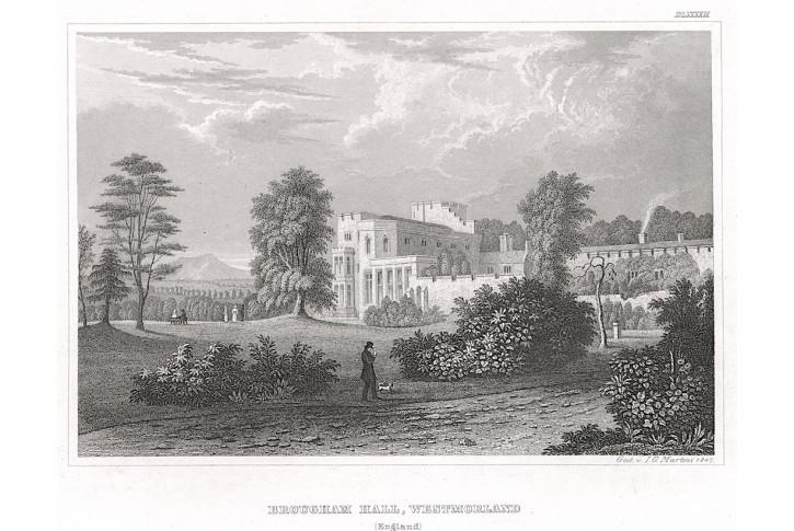 Brougham Hall , Meyer, oceloryt, 1847