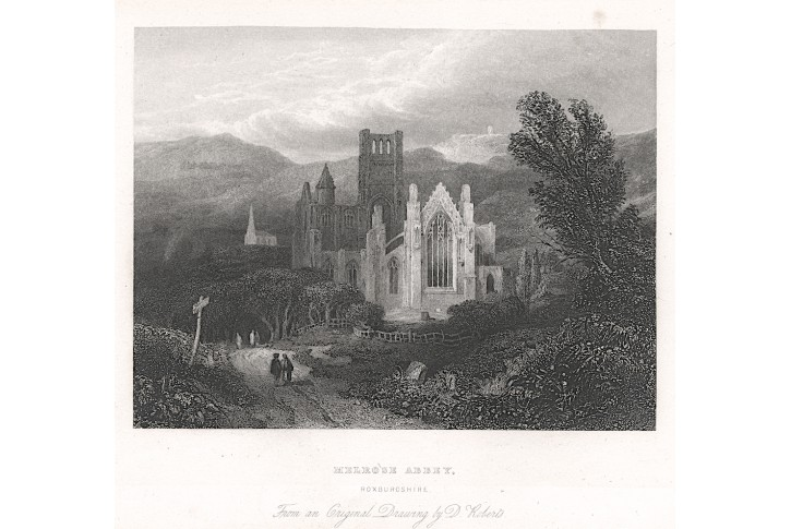 Melrose Abbey, oceloryt, (1850)