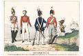 Uniformy Prusko,  kolor. litografie 1852