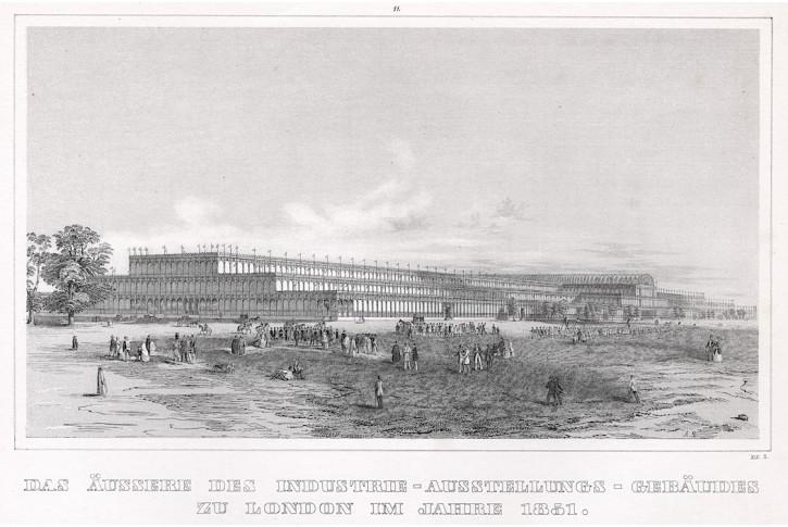 London Kristallpalast,  litografie, 1851