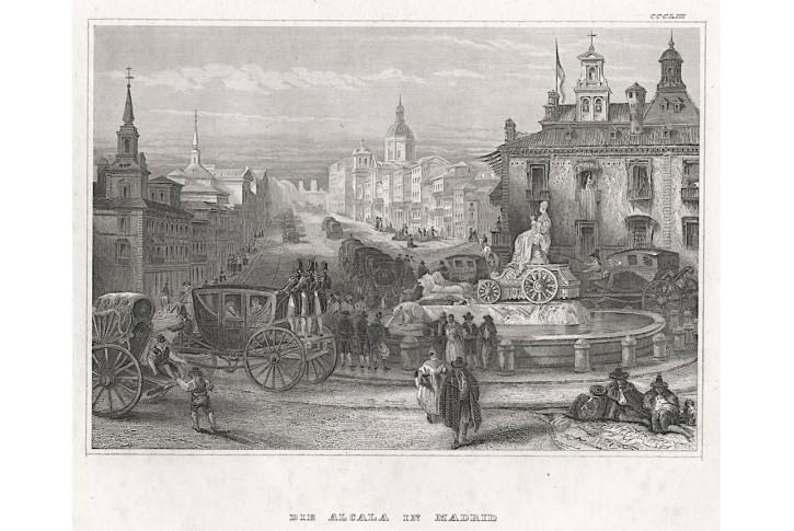 Madrid Alcala , Meyer, oceloryt, 1840