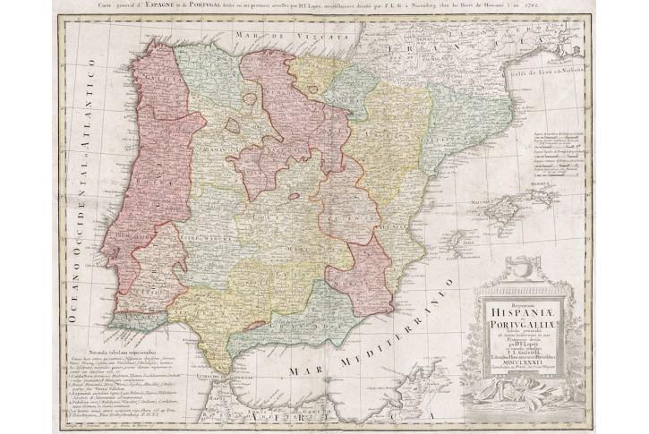 Homann dědic. : Hispaniae., kolor. mědiryt, 1782