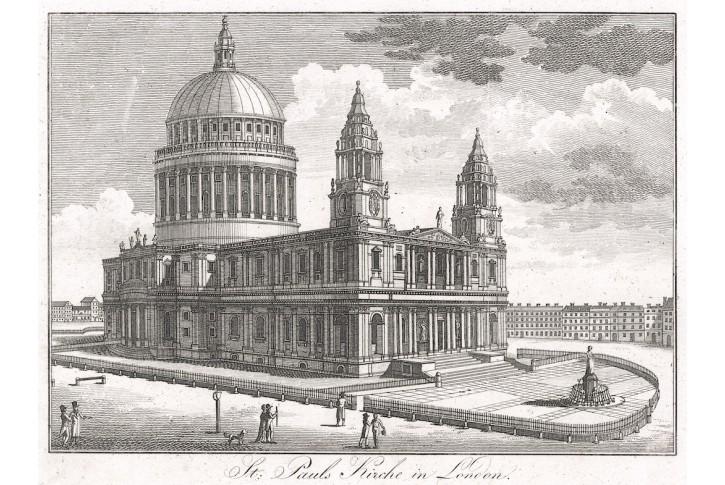 London St. Paul, mědiryt, (1820)