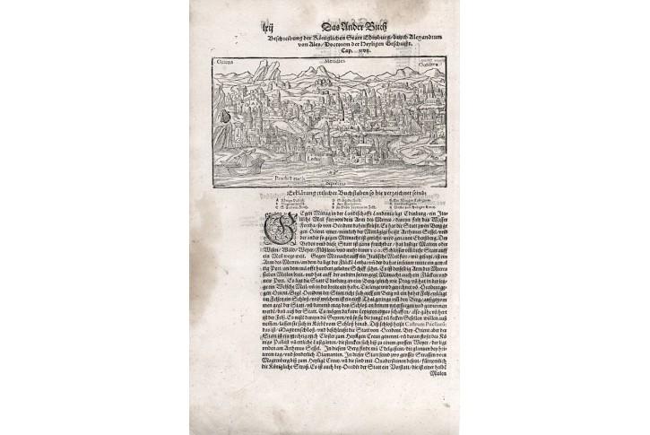 Edinburg, S. Münster, dřevořez, 1598