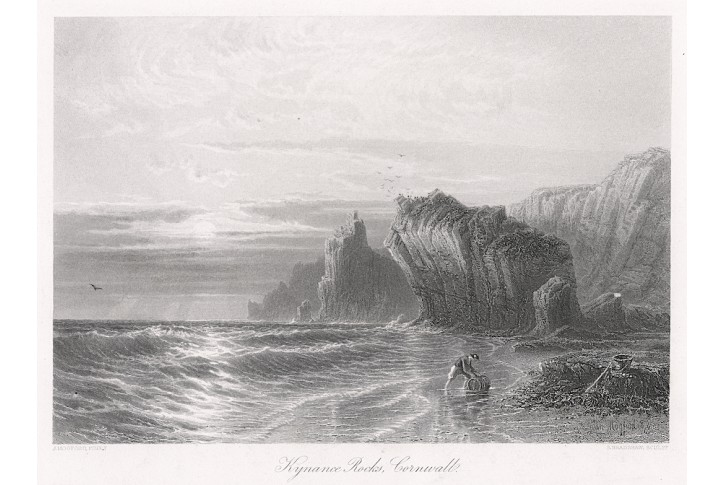 Kyance Rocks Corwall, oceloryt, (1860)