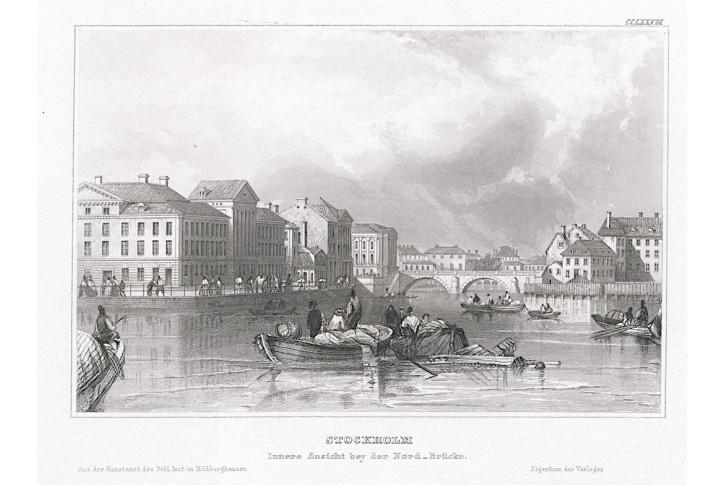 Stockholm Nord Brücke, Meyer, oceloryt, 1850