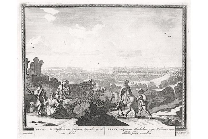 Praha, Schenck, mědiryt, 1702