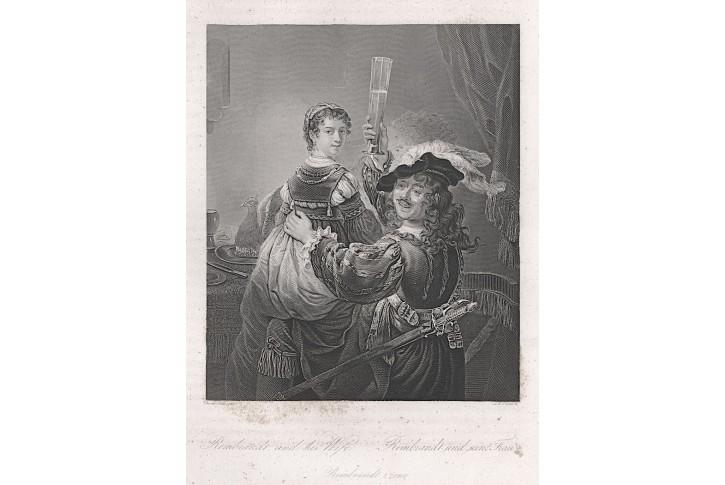 Rembrandt a jeho žena  , oceloryt, (1860)
