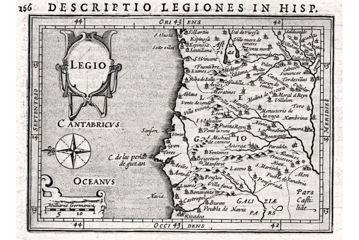 Leon Španělsko,  Bertius - Hondius, mědiryt, 1616