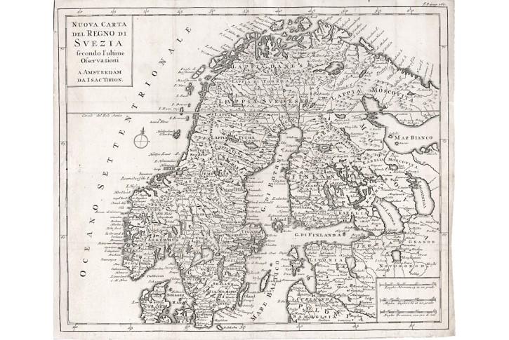 Tirion I.: Regno Suezia, mědiryt, 1740