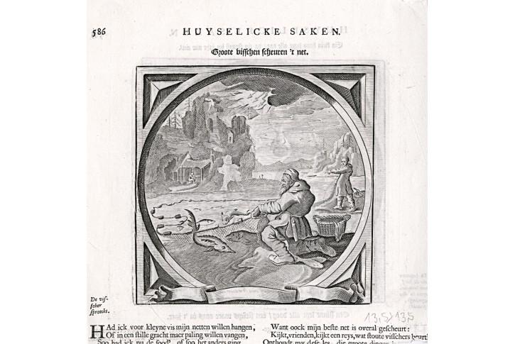 Rybář síť, mědiryt, 1638