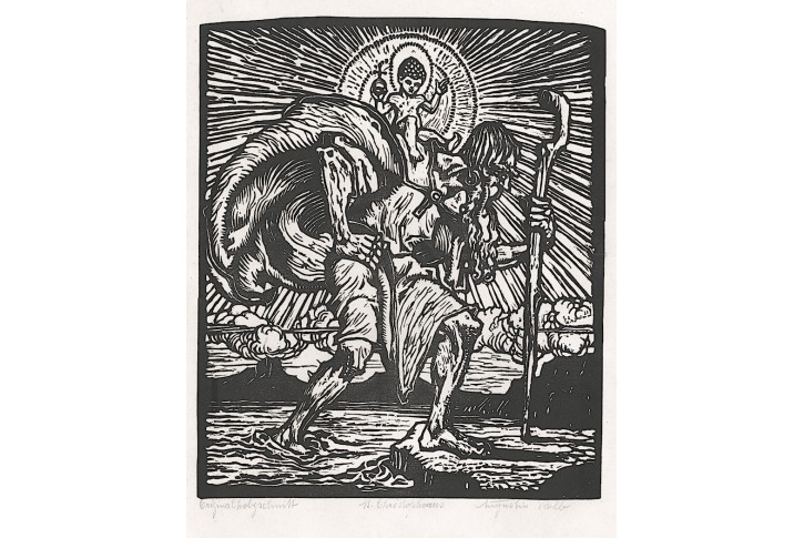 Kolb A., Svatý Kryštof, dřevoryt