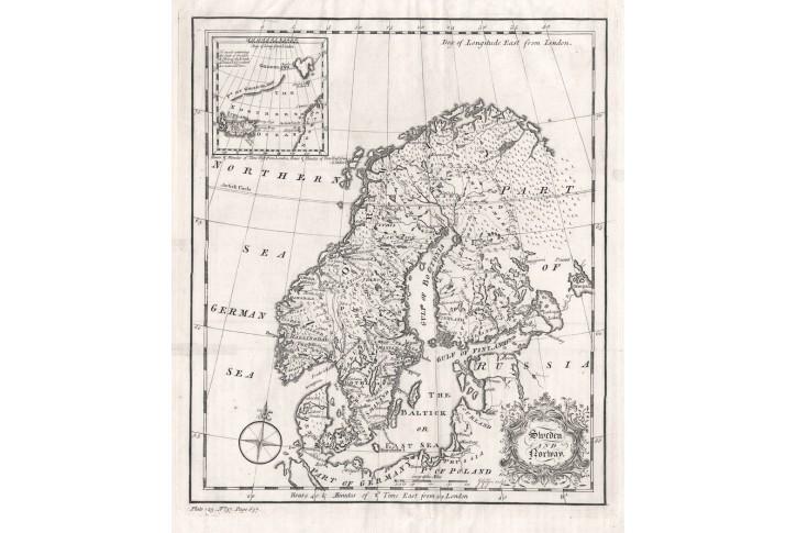 Švédsko a Norsko, mědiryt, (1750)