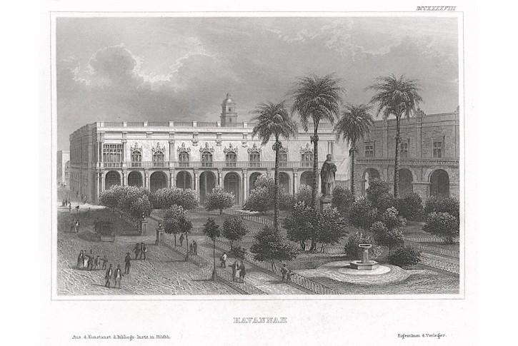 Havana Plaza de Armas, Meyer, oceloryt, 1850