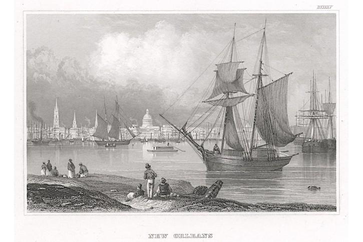 New Orleans , Meyer, oceloryt, 1850