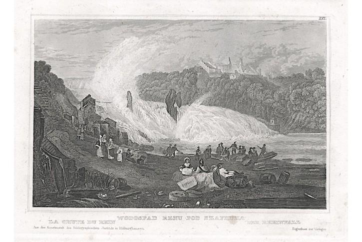 Rheinfall, Meyer, oceloryt, 1850