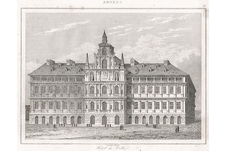 Antwerpen radnice , Le Bas, oceloryt (1840)