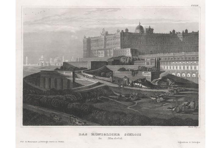 Madrid Královský palác, Meyer, oceloryt, 1850