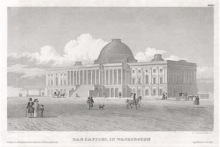 Washington Capitol., Meyer, oceloryt, 1850