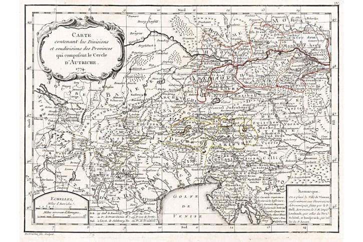Rakousko, kolor. mědiryt, 1774