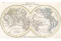 Mapa světa, Meyer, oceloryt, 1835