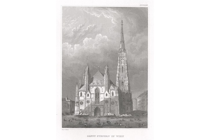 Wien Stephansdom, Meyer, oceloryt, 1850
