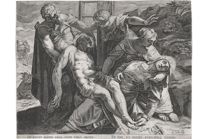 Sadeler podle Tintoreta, Ukládání, mědiryt, 1594