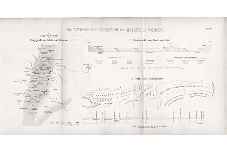Rosice a Oslavany kamenouhelná, litografie, 1865