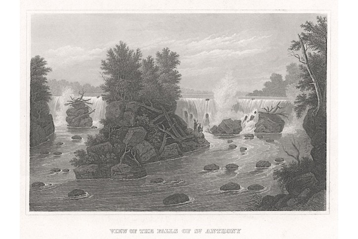 Saint Anthony Falls, Meyer, oceloryt, 1850