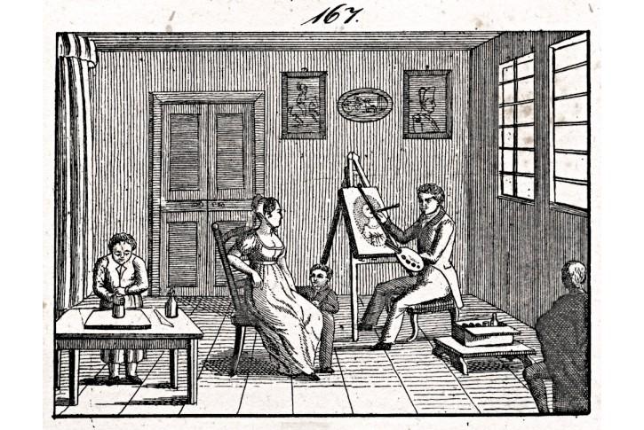 Malíř portrétista, litografie, (1840)