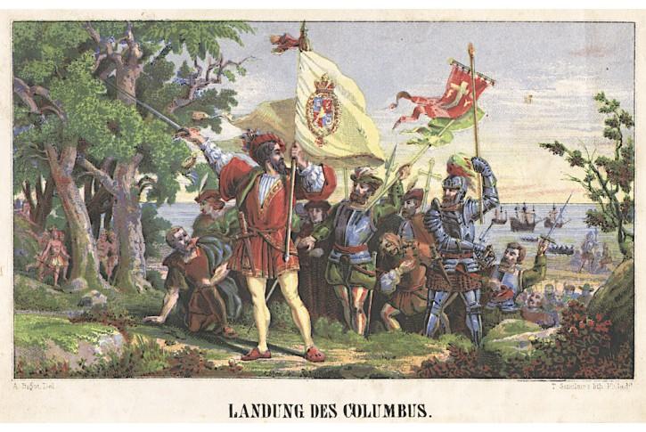 Kolumbus vylodění, kolor. litografie, (1860)