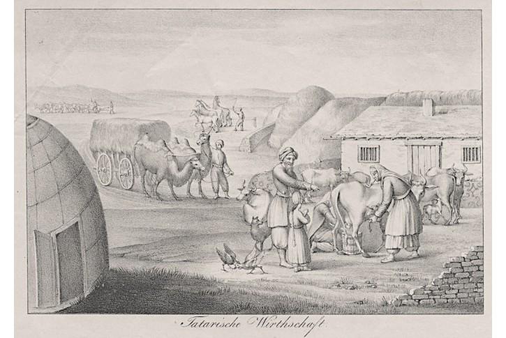 Tatarská vesnice hospodářství, litografie , (1840)