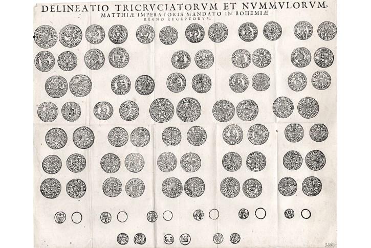 Berní mince za  cisaře Matyáše, mědiryt, (1615)