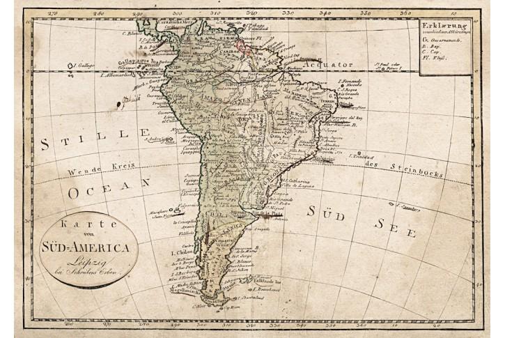 Süd America, kolor. mědiryt, (1810)
