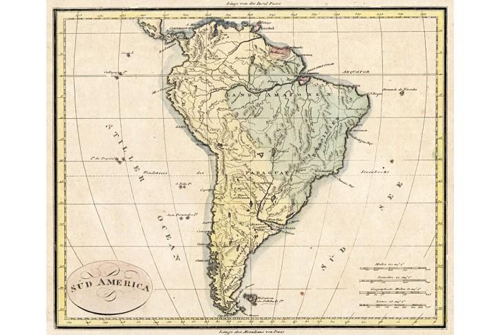 Süd America, kolor. mědiryt, (1820)