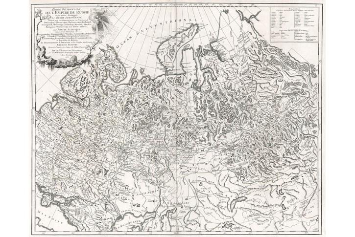 Vaugondy de: Russie, .mědiryt 1753