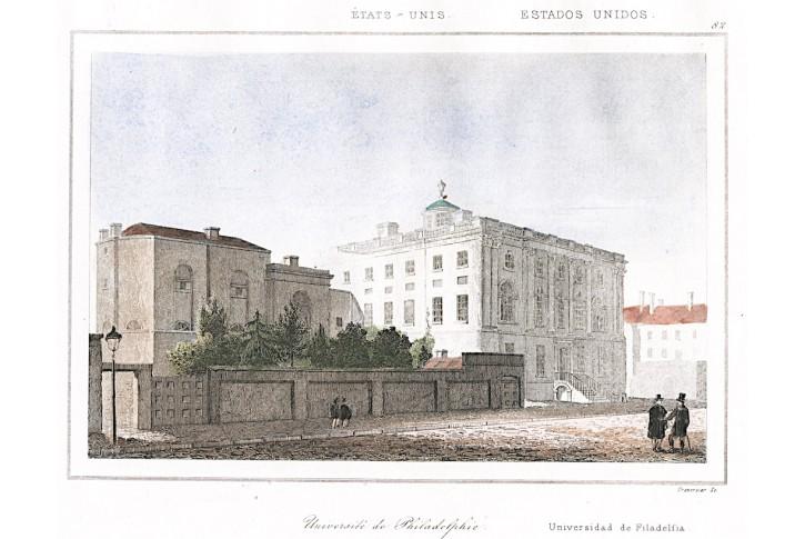 Philadelphia Uni..,, Le Bas, kolor.  oceloryt 1840