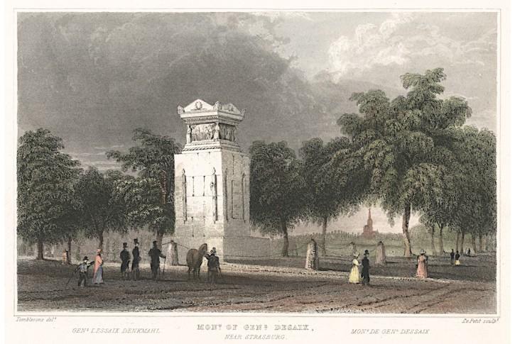 Strasburg Desaix hrob, kolor. oceloryt, 1830