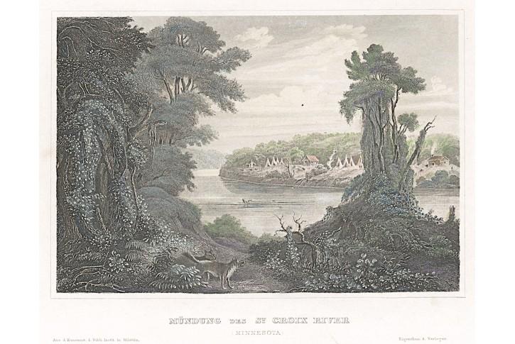 St. Croix River, Meyer, kolor.  oceloryt, 1850