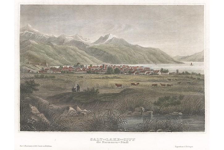Salt Lake City, Meyer, kolor. oceloryt, 1850