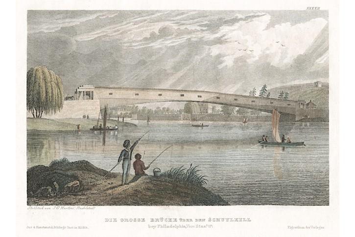Schuylkill River Pensylvania,Meyer, oceloryt, 1850