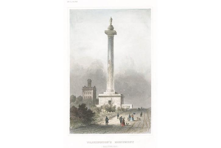 Washington Monument, Meyer, kolor.  oceloryt, 1850