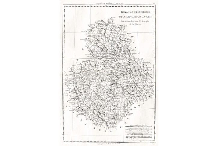 Bonne  M.: Royaume de Boheme, mědiryt 1762