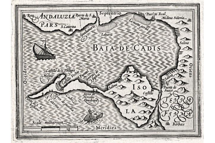 Cadiz Španěl., Bertius - Hondius, mědiryt, 1616