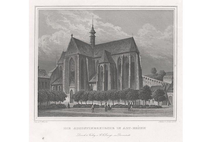 Brno kostel Augustinianů, Lange, oceloryt, 1842