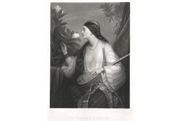 Nevěsta loutna květina, akvatinta, (1830)
