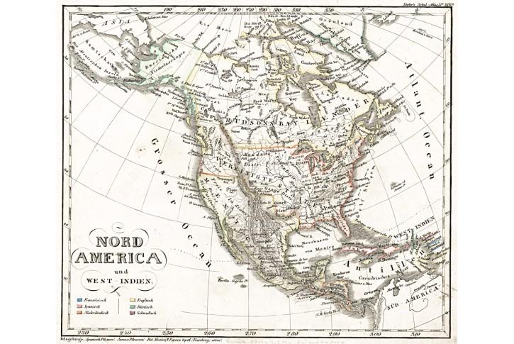 Amerika sever, Stieler,  oceloryt, 1845
